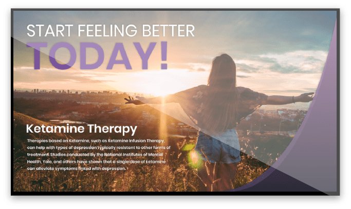 Ketamine Therapy Digital Signage Screen